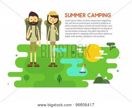 Flat cartoon couple with hiking equipment isolated on white background.