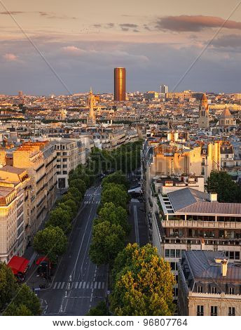 Sunset Light On Montparnasse Tower, Avenue Marceau Rooftops, Paris, France
