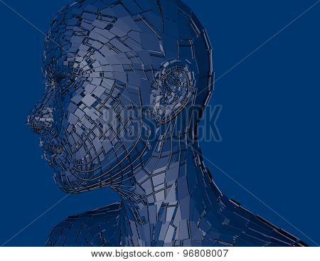 Cyber Person Blue Background