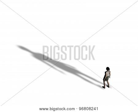 3D Woman With Big Shadow, Negative Emotions Concept