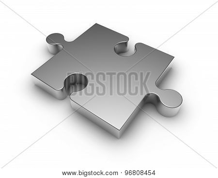 Simple Shiny Metal Jigsaw Puzzle Isolated