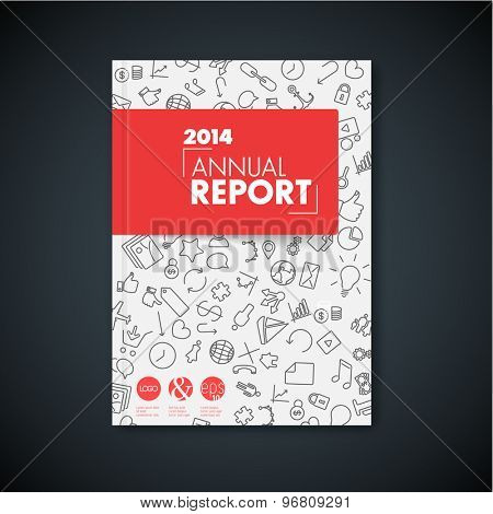 Modern Vector red abstract brochure / book / flyer design template with application icons