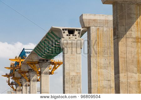 Construction of a mass transit train line in progress with heavy infrastructure
