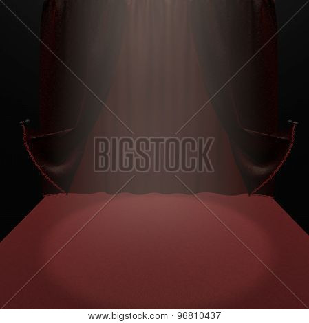 Empty Theater Stage With Red Velvet Curtain And Light 3D Illustration