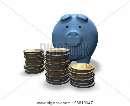 Economies Planning Concept With Piggy And Coins