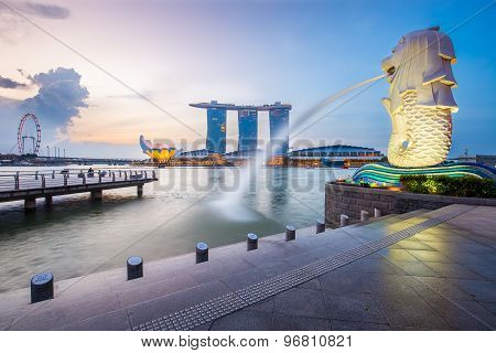 Singapore Skyline And Merlion In The Morning