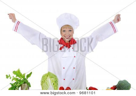 Positive Handsome Chef Prepares Vegetables