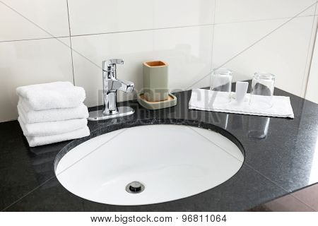 Bathroom Sink At Restroom Hotel Interior