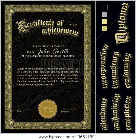 Vector illustration of black and gold certificate. Template. Vertical. Additional design elements.