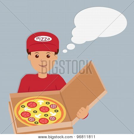 Isolated pizza deliveryman character.