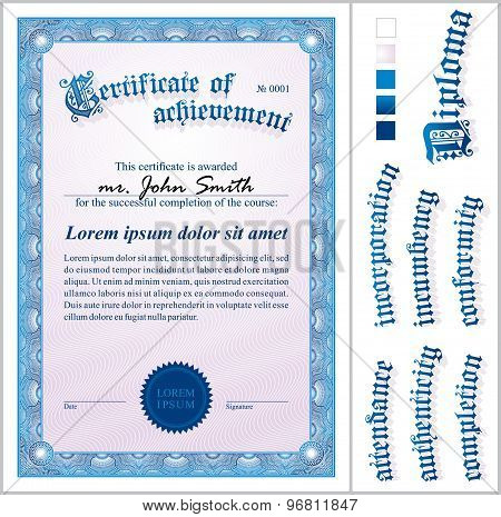 Vector illustration of blue certificate. Template. Vertical.