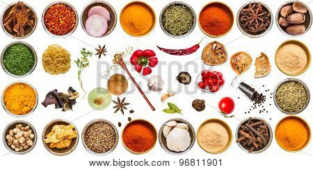Herb And Spices For Cooking On White Background(clipping Path).
