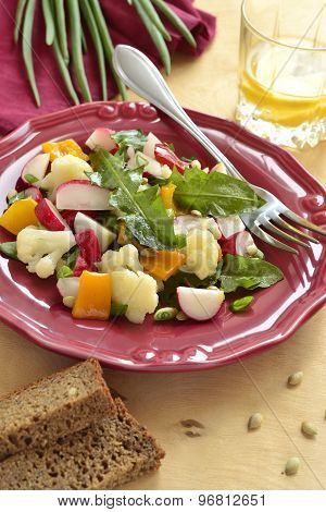 Salad with cauliflower, radish, sweet pepper and greens