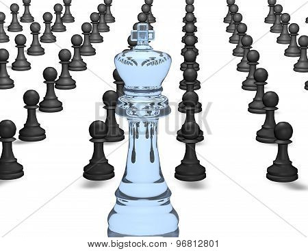Army Of Chess Pieces And Chess King