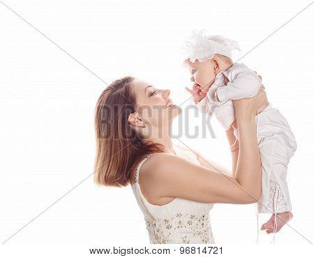 Mother Holds Newborn First Child.
