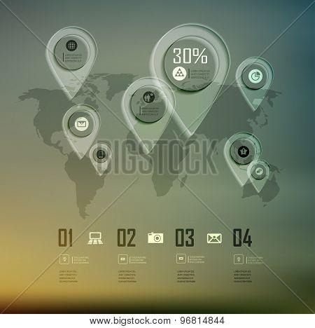 Transparent business Infographics diagram on blur landscape