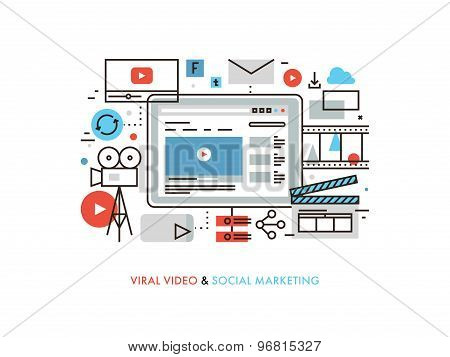 Viral Video Production Flat Line Illustration