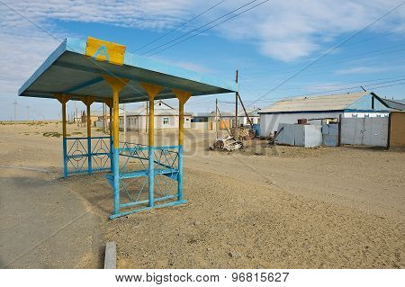 Exterior of the bus stop in the town of Aralsk, Kazakhstan.