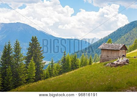 Small Wooden Hut In The Dolomites