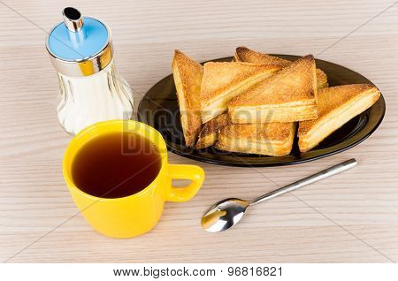 Sweet Puff Pastries In Dish, Sugar Bowl And Hot Tea