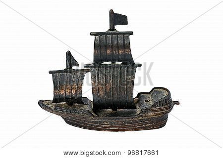 Chinese Junk Boat Model Made Of Copper  Isolated On White Background