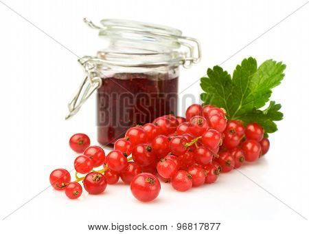 Bunch Of Red Currant And Glass Jar With Jam