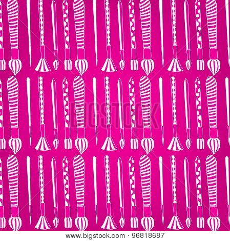 Pattern. Paint brushes. Set of white brushes on a pink background