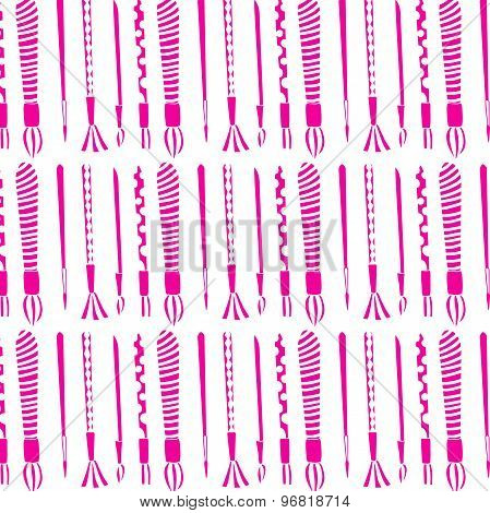 Pattern. Paint brushes. Set of pink brushes on a white background