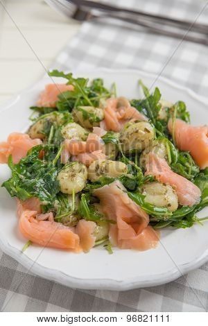 Home made Potato Gnocchi with salmon