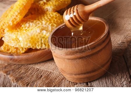 Honey In A Wooden Bowl And A Honeycomb. Horizontal, Rustic