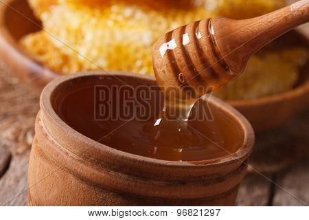 Liquid Flower Honey Dripping From A Stick Macro. Horizontal