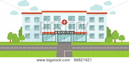 Medical concept. Panoramic background with hospital building in flat style.