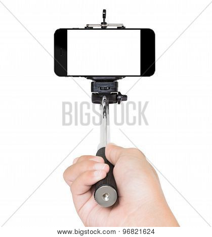 Hand Using Selfie Stick Isolated White Clipping Path Inside