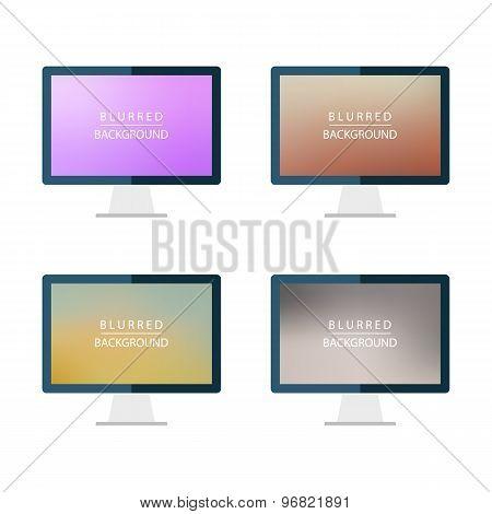 Set of desktop computer blurred backgrounds.