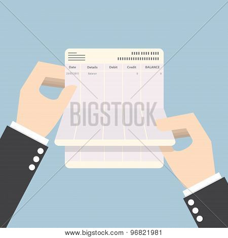 Businessman Hands Holding Passbook With No Balance