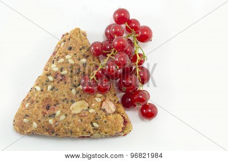 Integral Biscuits With Fresh Currant And Red Berry Fruit Isolated