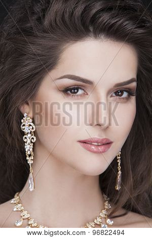 portrait of a beautiful brunette sexy girl with luxury accessories. fashion model