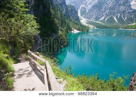 Hiking Trail At Lake Braies