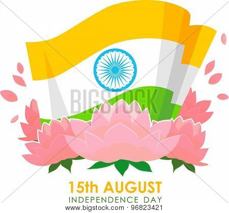Illustration for Indian Independence Day with tricolor flag, ashoka wheel and lotus. Vector illustra