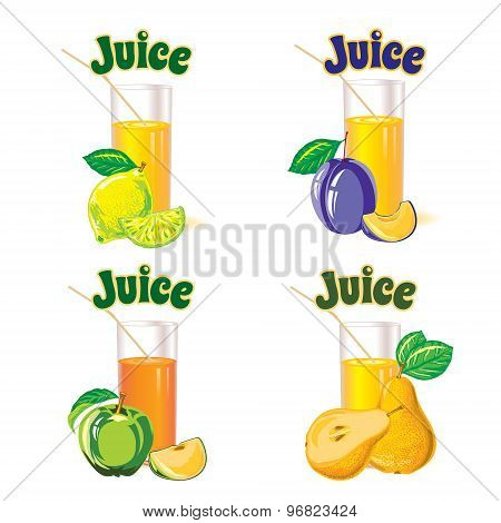 set of  glasses for juice from the lemon, apple, pear and plum