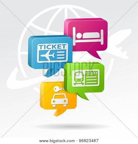 Booking travel item Speech Bubbles