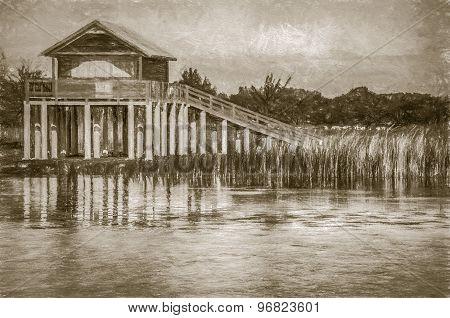 stilt house at the lake