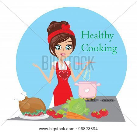 Beautiful Lady Cooking Soup And Serving Chicken