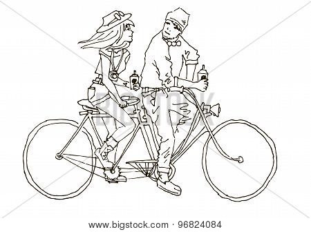 Two On The Bike And Coffee. Tandem