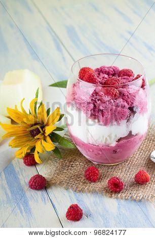 Few Raspberries Around Ice Cream Cup