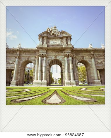 Instant Photo Of The Puerta De Alcala In Madrid