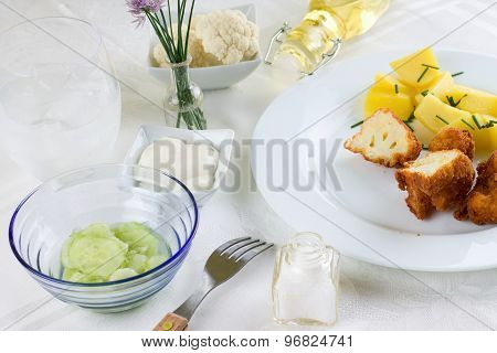 Set Table With Breaded Cauliflower