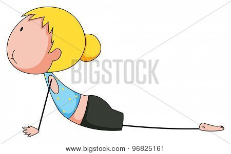 Girl practicing yoga on the white background