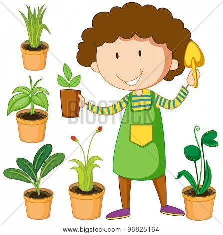 Flashcard of green color set with a female planting green plants