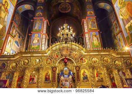 Ancient Mosaics Golden Screen Icons Ancient Basilica Saint Michael Monastery Cathedral Kiev Ukraine